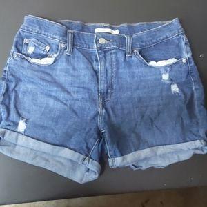 Levi's blue mid length jean shorts sz 32